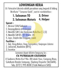 KARIR LAMPUNG - CV. Putrasalim Celesindo