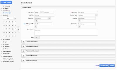 Kontakt-Formular in Apptivo mit eingeklappten Bereichen