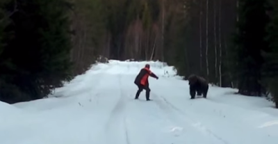 Swedish man scares away the huge bear with his roar