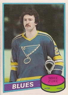 mike zuke st. louis blues o-pee-chee hockey card