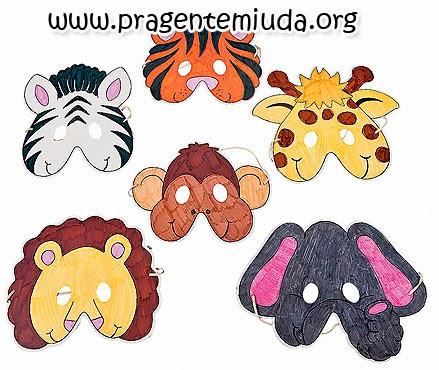 Máscaras de animais feitas em EVA com moldes