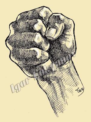 dessin de poing (hachures)