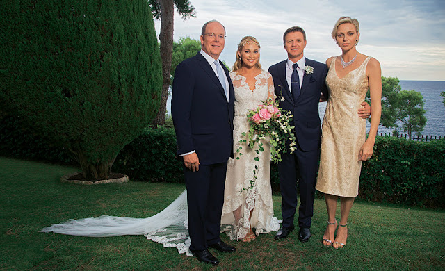Princess Charlene in Dior Gareth Wittstock Wedding 2015