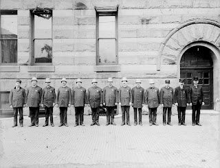Fort Wayne policemen lined up in front of City Hall in early 1920s