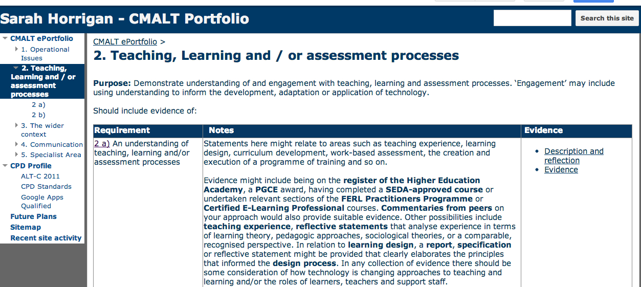 an example google sites eportfolio this ones for certified membership of the association for learning technology
