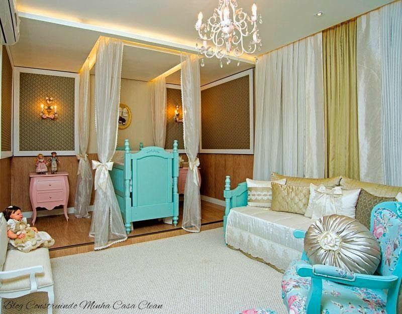 decoracao quarto azul turquesa e amarelo:Quarto de bebê com verde turquesa no berço e azul turquesa na
