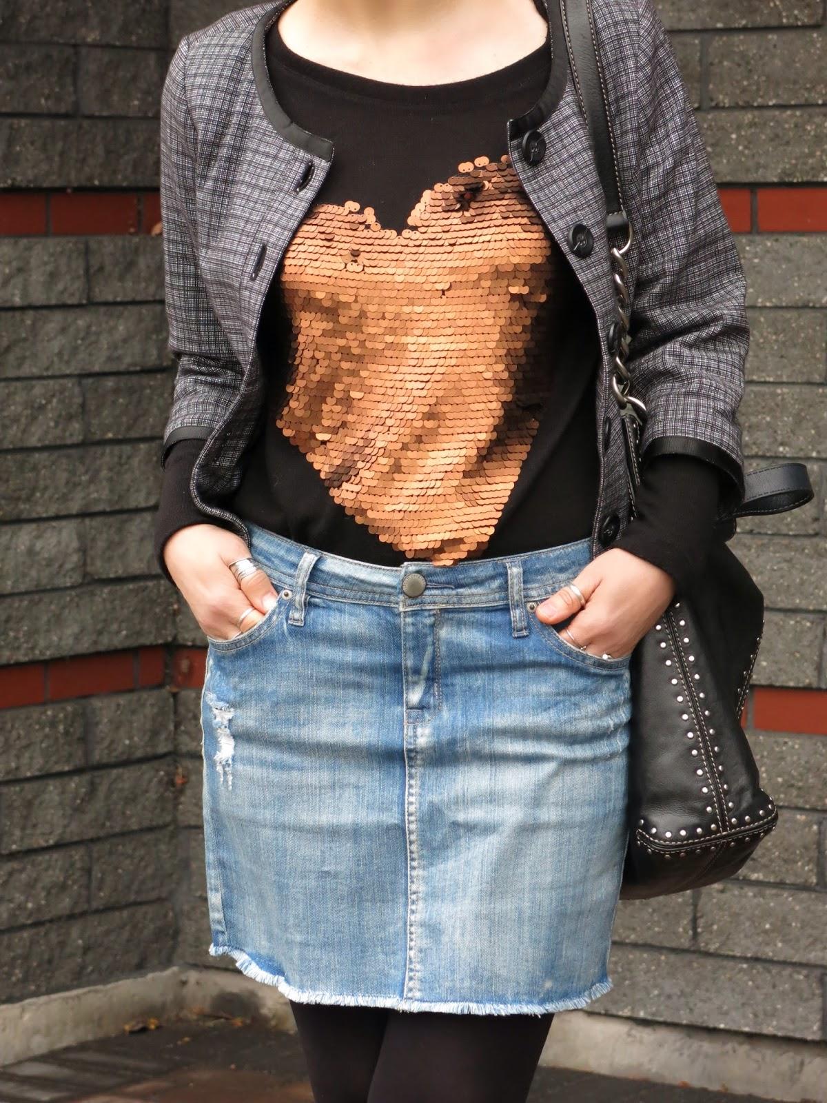 denim cut-off skirt, sequinned sweater, Chanel-inspired jacket, Michael Kors bag