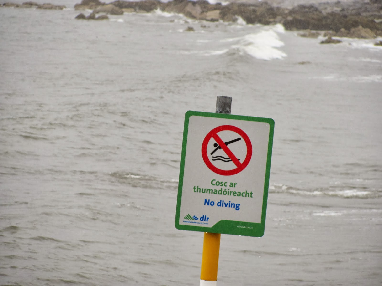 "A sign reading ""No Diving"" is seen at Seapoint Beach, Dun Laoghaire, Co. Dublin, Ireland"