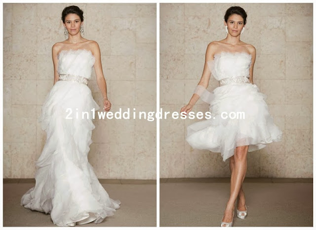 organza strapless 2 in 1 wedding dress with convertible skirt