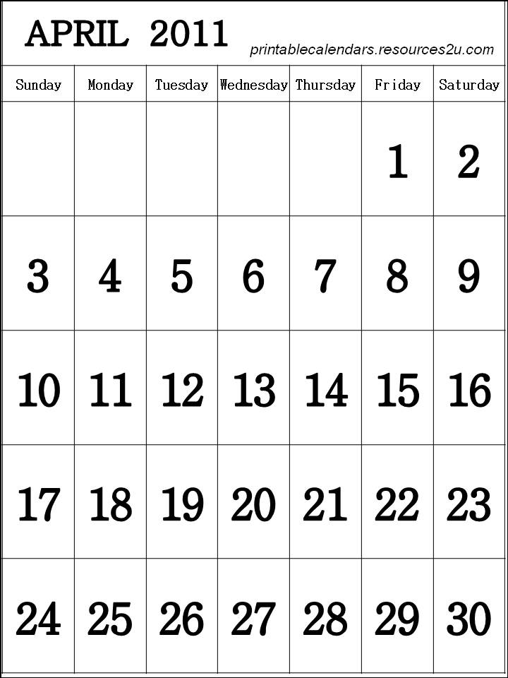 calendars 2011 april. Calendar April 2011 printable