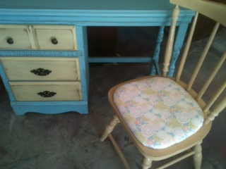 Furniture By MK Designs Beautiful Robin Egg Blue Desk And Side Table FOR SALE