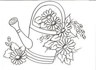 desenho de regador de flores