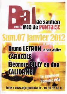 Affiche Bal Folk Pontoise 2012 avec Caliorne