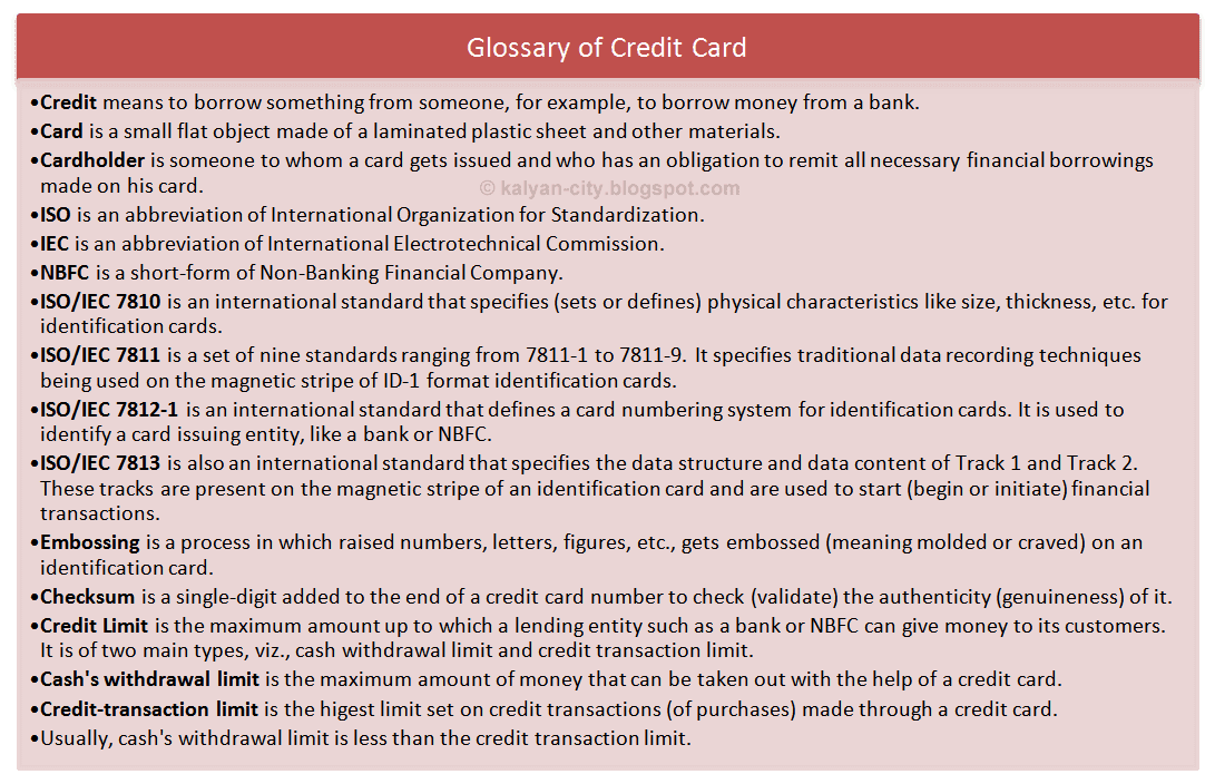 glossary of credit card
