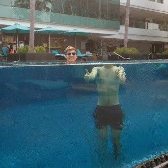 Optical illusion created by an infinity pool