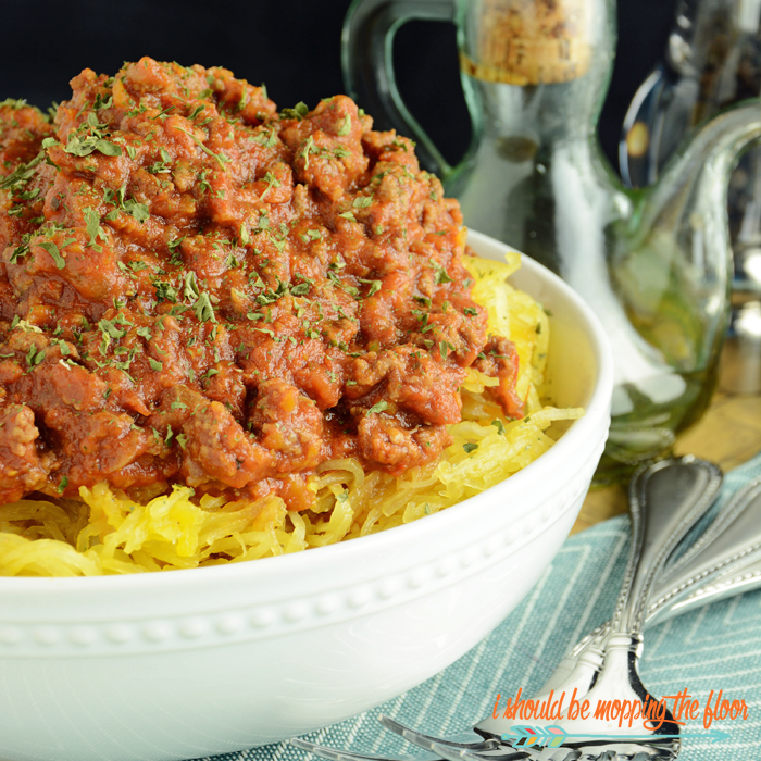 Skinny Slow Cooker Bolognese Sauce | A lightened up version of the classic dish made easy in the slow cooker. | Makes a large batch and freezes beautifully.
