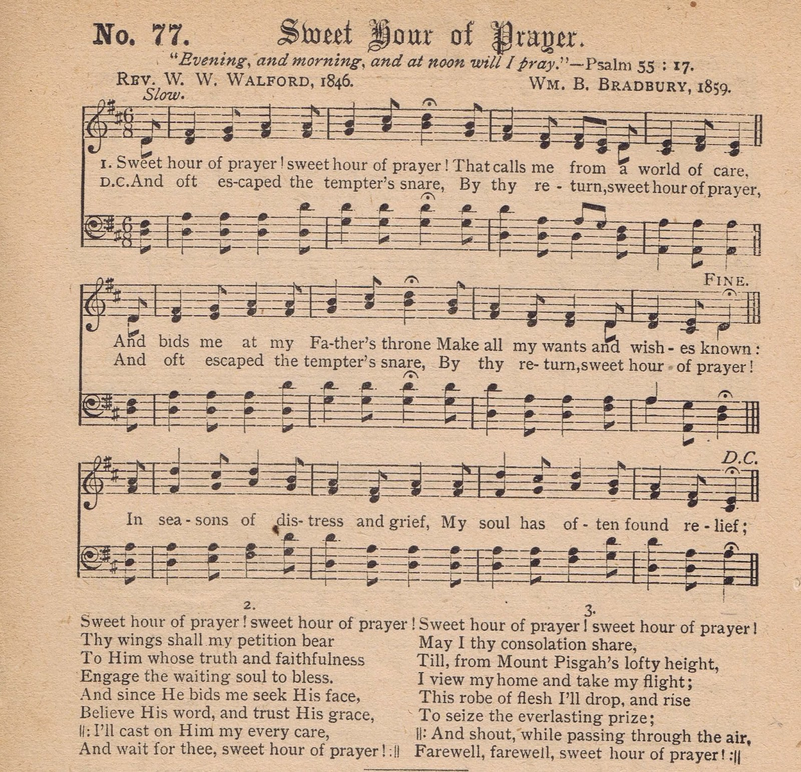 Printable Antique Hymn Page - Sweet Hour of Prayer