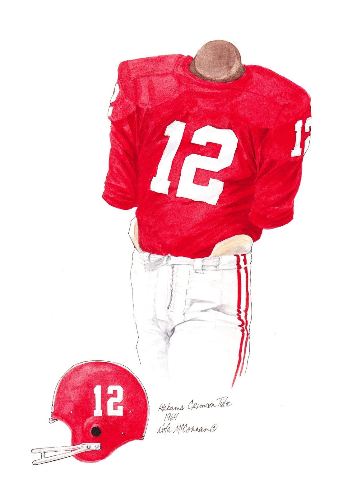 17089dbcc 1964 Alabama Crimson Tide football uniform original art for sale