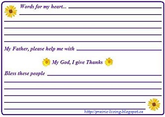 Prairie Living: Prayer Card