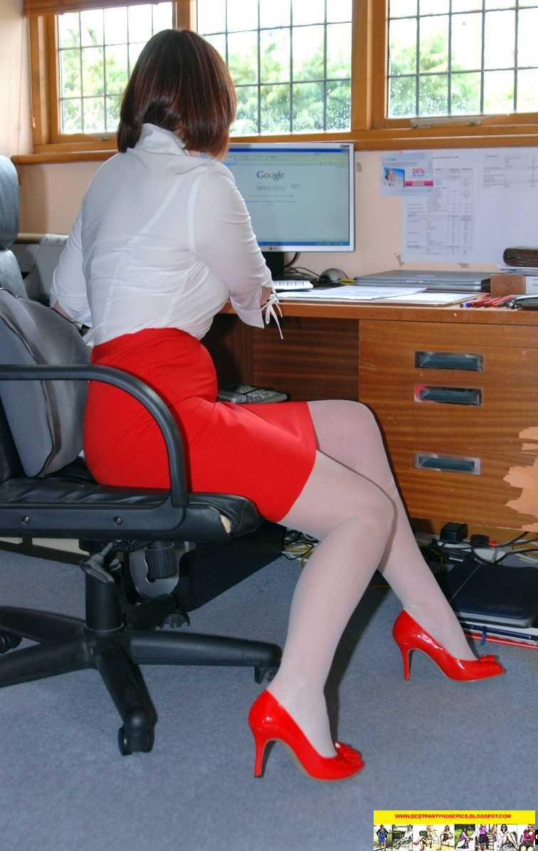 pencil skirt white nylons and red high heels