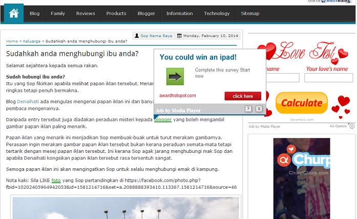 """Iklan """"Ads by Media Player"""" mengacau diblog"""