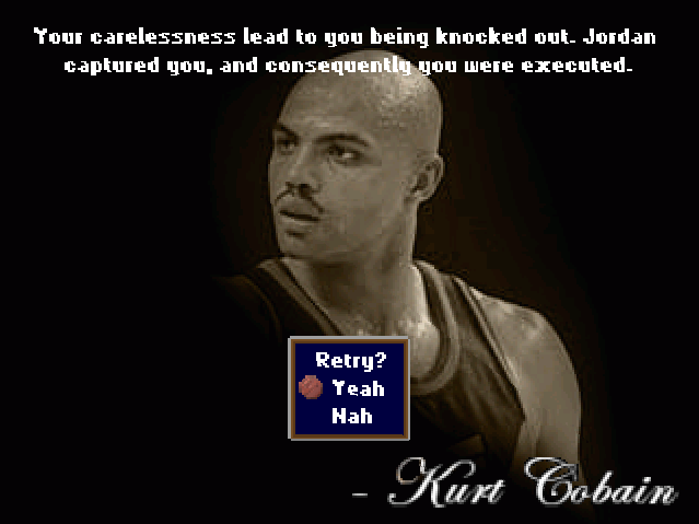 Barkley Shut Up and Jam Gaiden Game Over screen Kurt Cobain