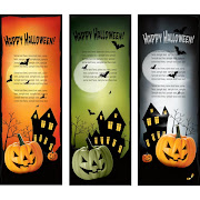 17. Free Vector Happy Halloween verticle Web Banner Set
