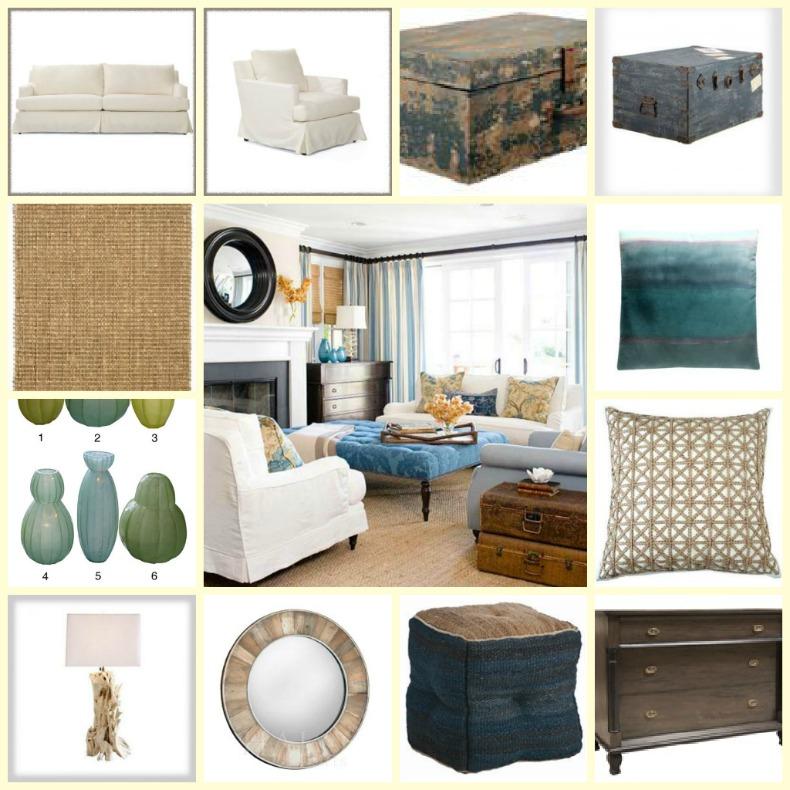 Coastal Living Room. white slipcover sofa