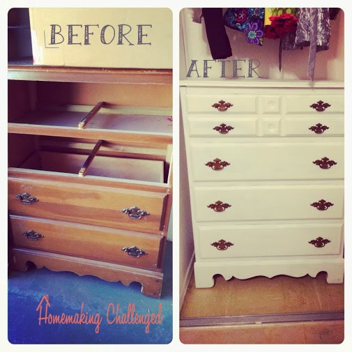 dresser makeover painting white