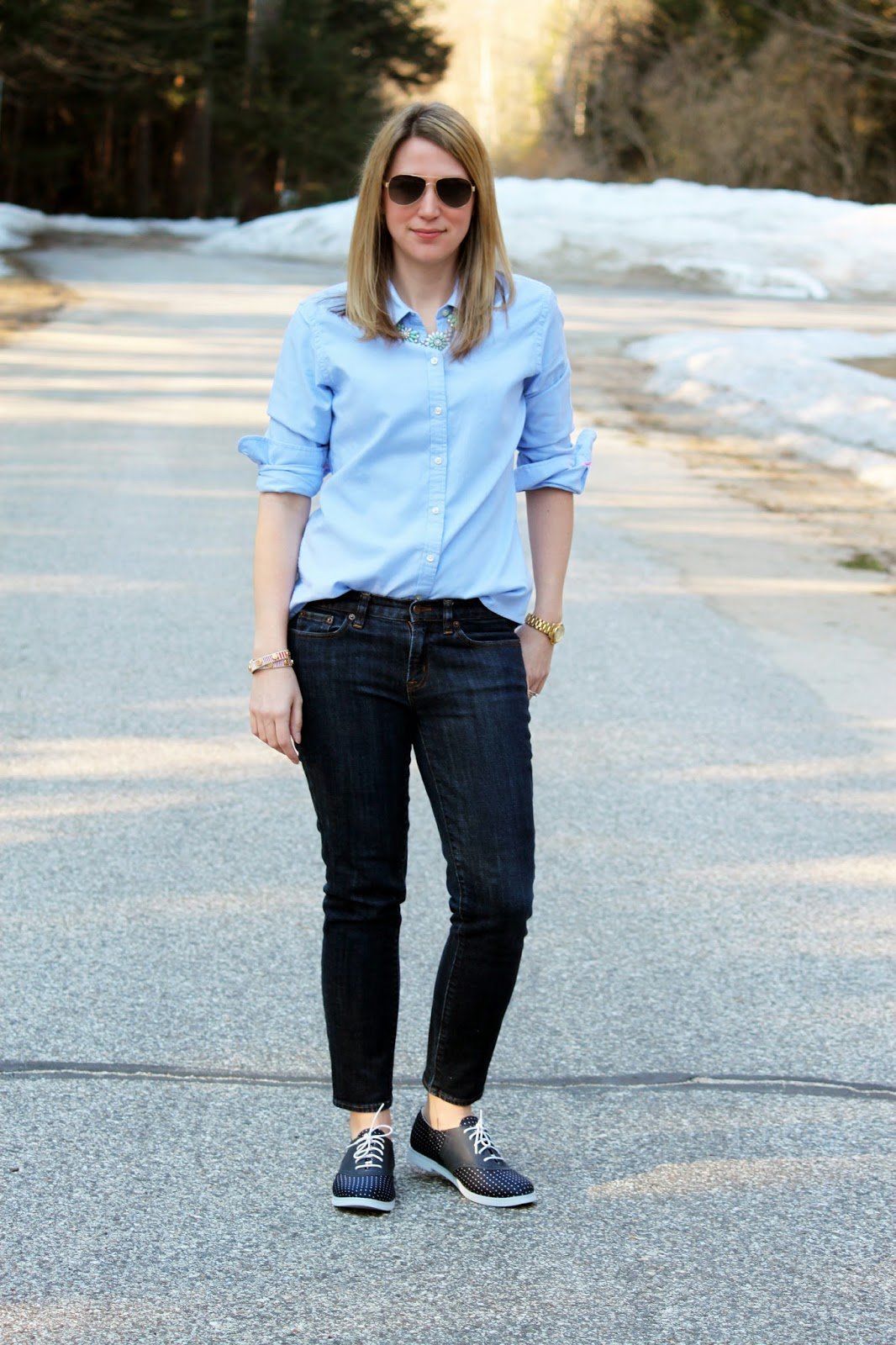Blue Oxford Shirt + Polka Dot Oxford Shoes // The Salty Hanger