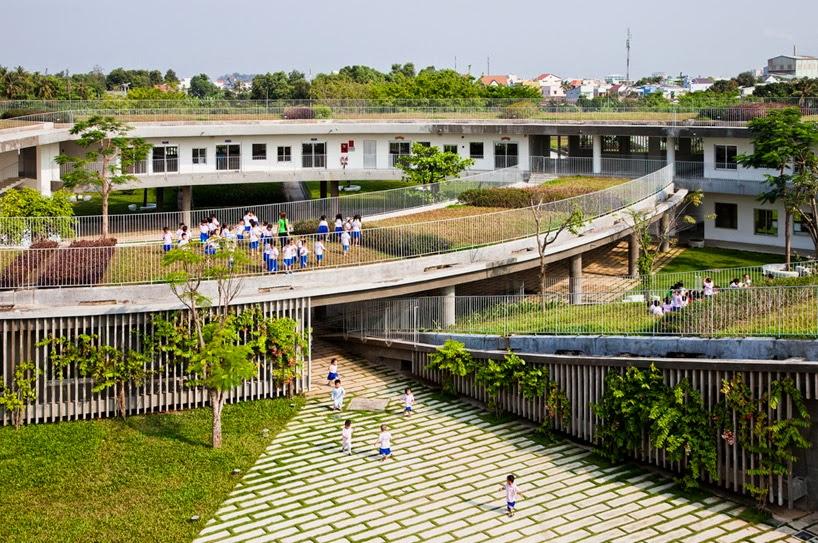 Jardin de Niños con Areas Verdes en los Techos, Arquitectura Sostenible
