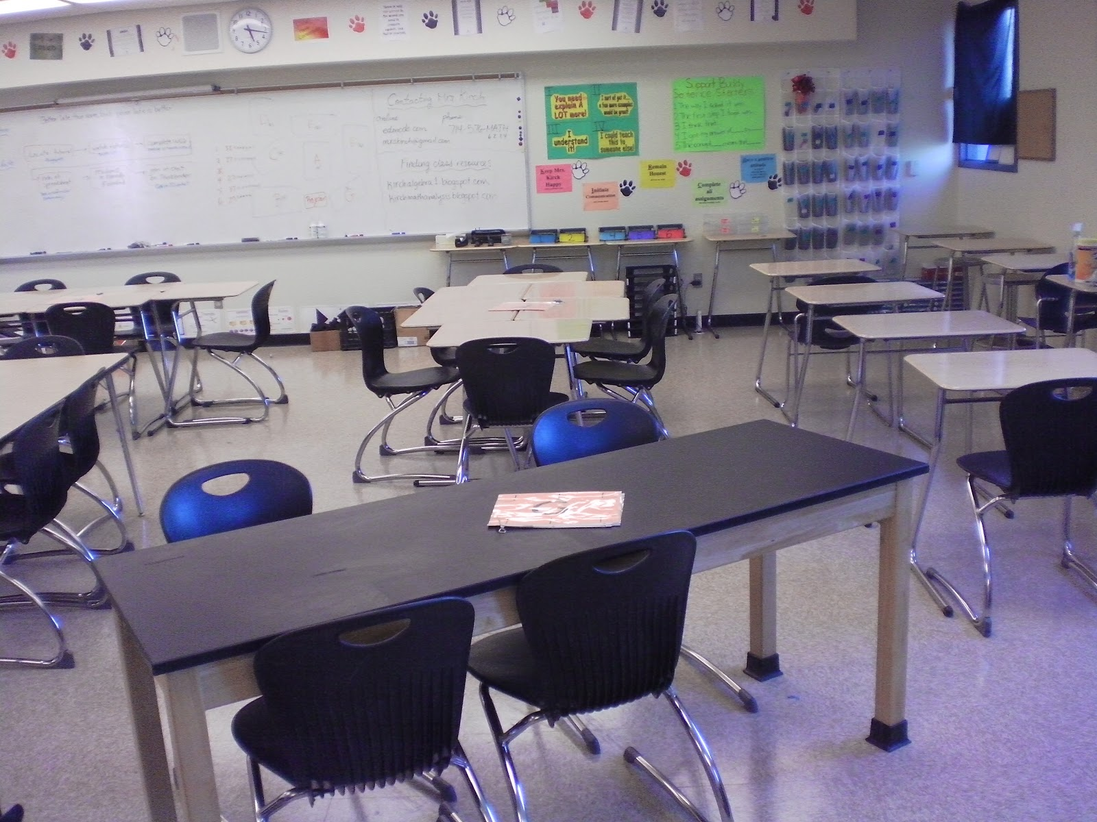 desks in rows on side for quiz retaking