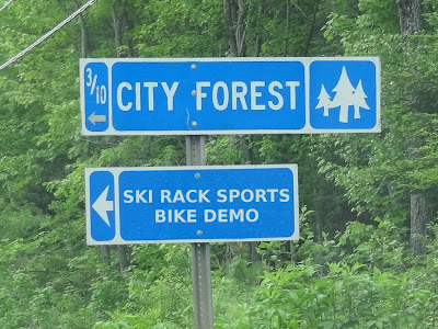 Ski Rack Sports,Bangor City Forest,sign,bike demo,Maine,Santa Cruz
