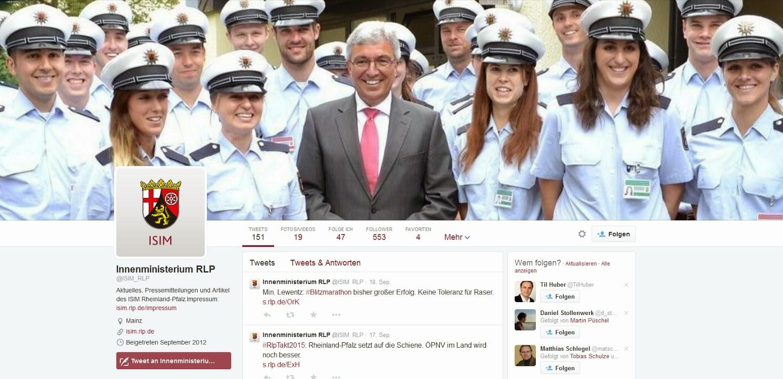 Twitter-Account Innenministerium Rheinland-Pfalz