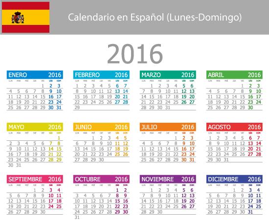 Calendario elemental 2016 en español - Vector | Vector Clipart