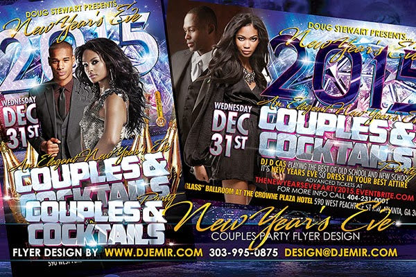 Couples and Cocktails New Years Eve Flyer Design