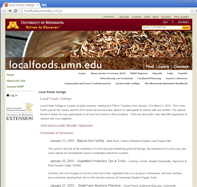 Image of Local Foods College website.