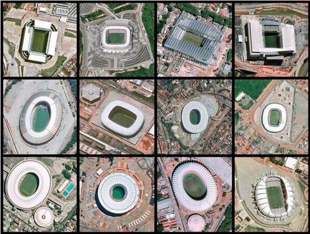 Todos los estadios de la Copa del Mundo vistos desde el espacio