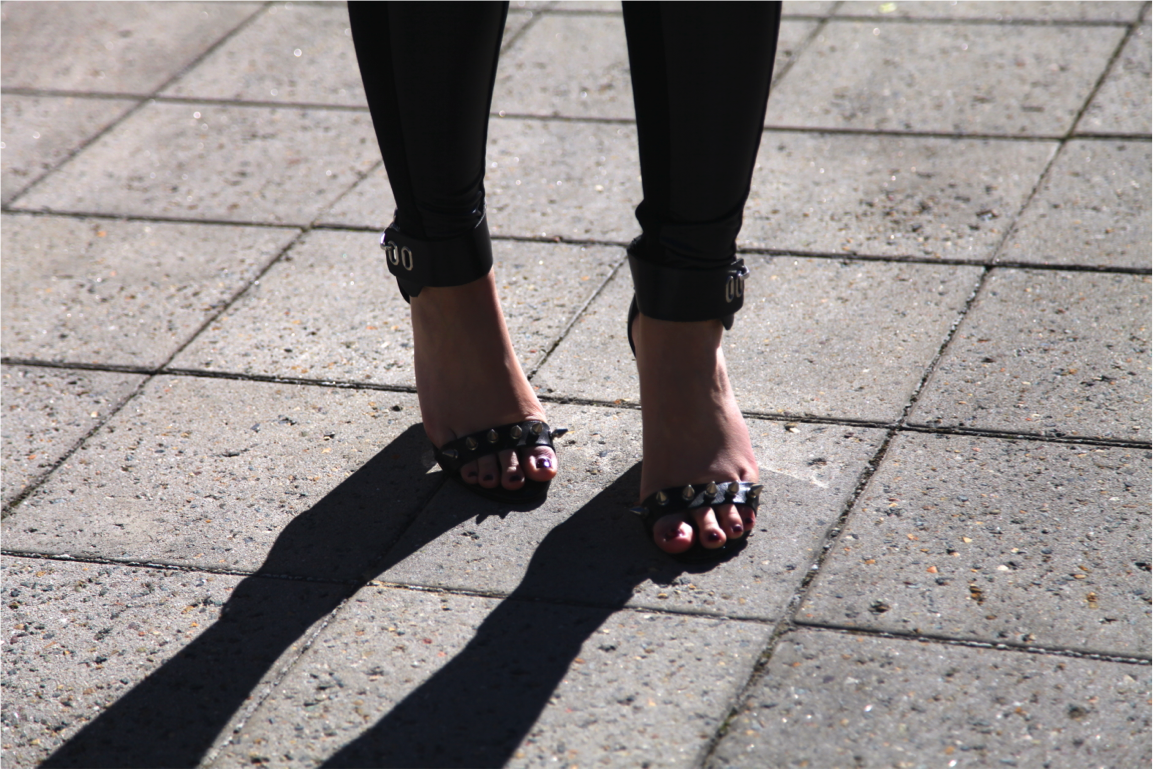 diy topshop leather and spike sandal heels on epique