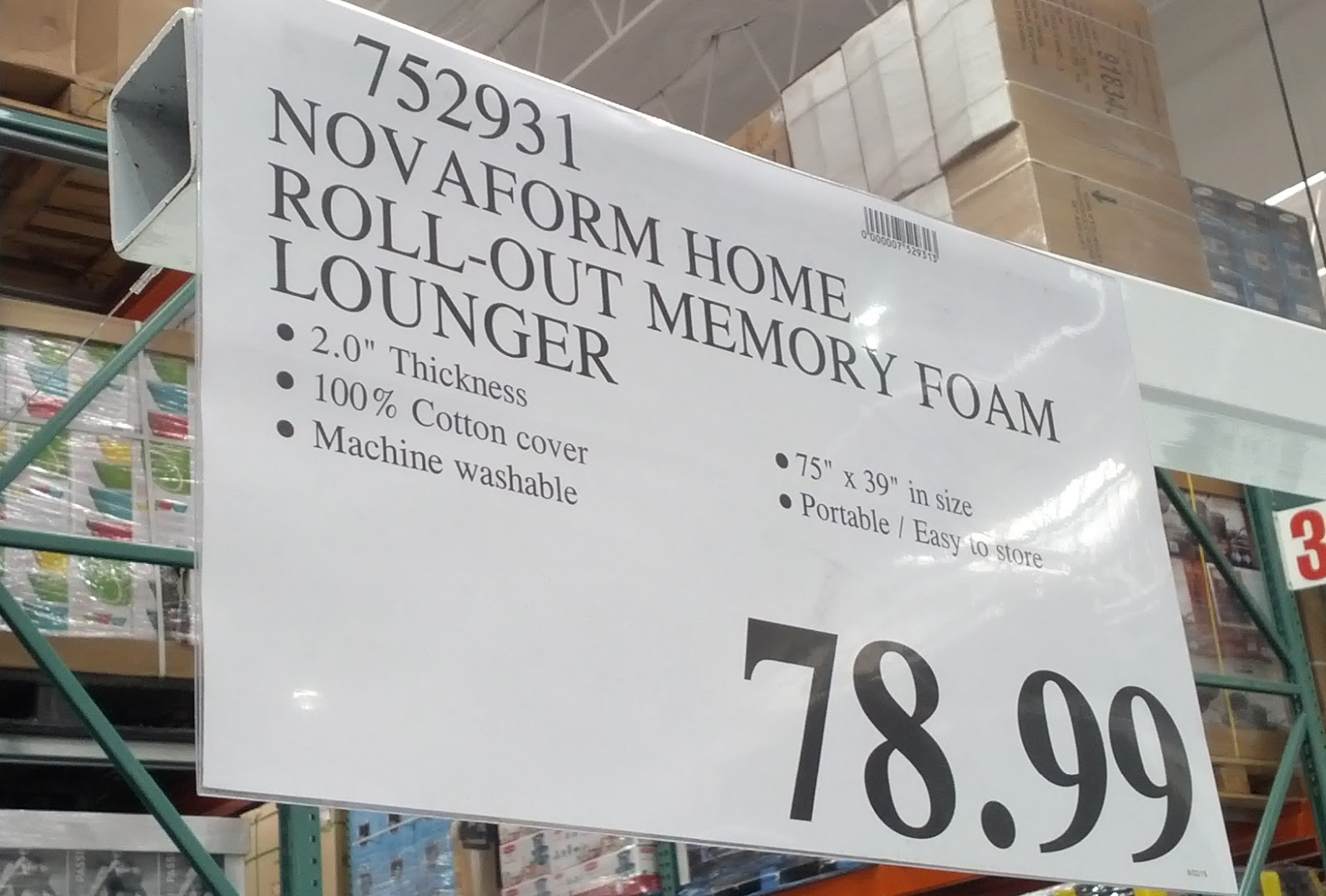 Novaform Home Roll Out Memory Foam Lounger Costco Weekender