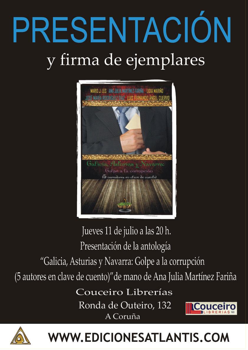"""Cartel de la presentación del libro """"Galicia, Asturias y Navarra: golpe a la corrupción"""""""