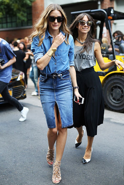 on-trend front-slit pencil skirt on Olivia Palermo