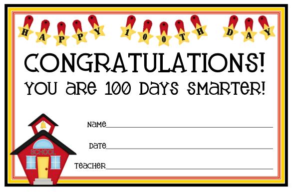 Image 100 Days Smarter Certificate Printable Download