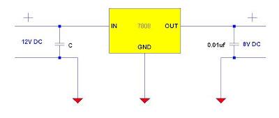 12V to 8V DC converter using 7808 regulator IC