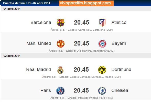 Mi fútbol: Champions League 2013-14: Cuartos de final