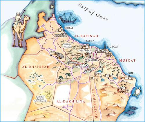 Mapa turístico da região de Mascate - Omã