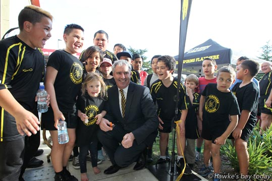 Centre: Ruby Paewai, 4, helped Lawrence Yule, mayor, Hastings District Council, cut the ribbon to officially open the new base for Flaxmere Boxing Academy. Flaxmere, Hastings. photograph