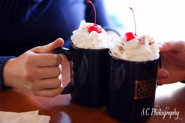South Bend Chocolate Company Cafe Engagement Session, Winter, Hot Chocolate