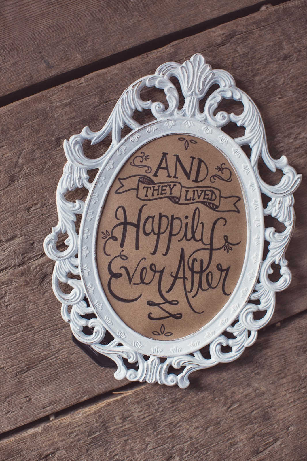 Happily ever after handwritten wedding sign