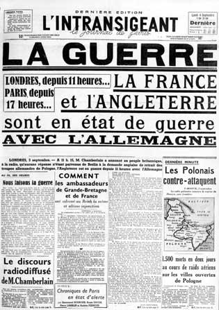 periodico 1939 declaración de guerra de francia e inglaterra